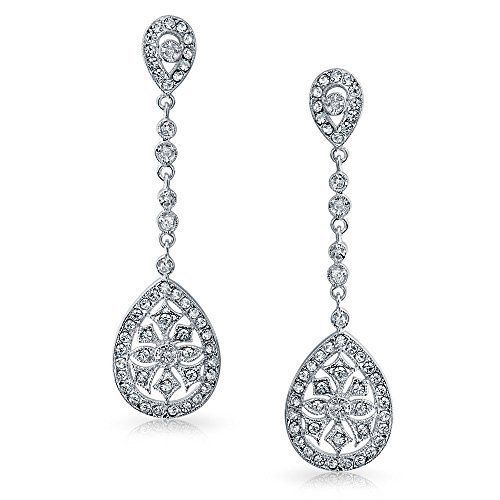 Bling Jewelry Cz Teardrop Bridal Drop Earrings Clip On Rhodium Plated Br Obhe5hwyg