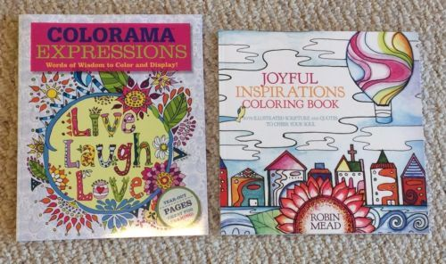 Lot Of 2 New High Quality Christian Adult Coloring Books Including Colorama Expressions Themed With Inspiring And Encouraging Words Uplifting