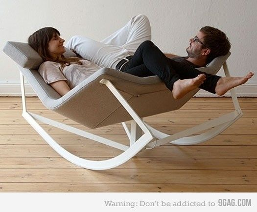 Rocking chair for that couple that is just way too into each other. Just kidding, want. Love it!