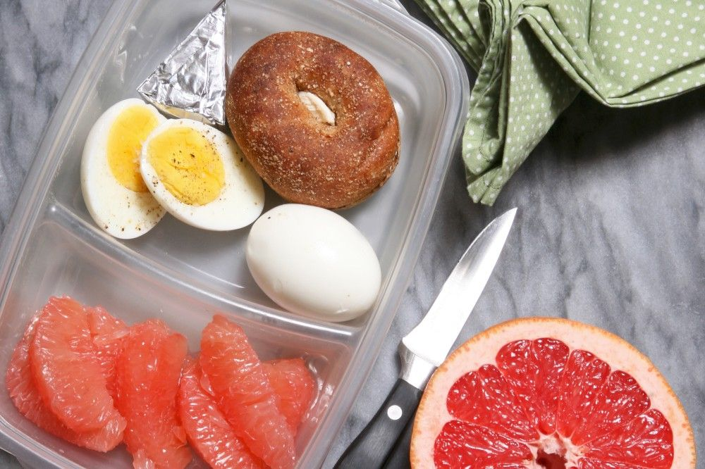 Breakfast-on-the-Go: Hard-Boiled Egg, Mini Bagel, and Grapefruit! Its a great picture of amazing food. We agree and think you might want to make it.  If you are looking to lose weight the safe, healthy and effective way, you have found the place at NutrivityWeightLoss.com.