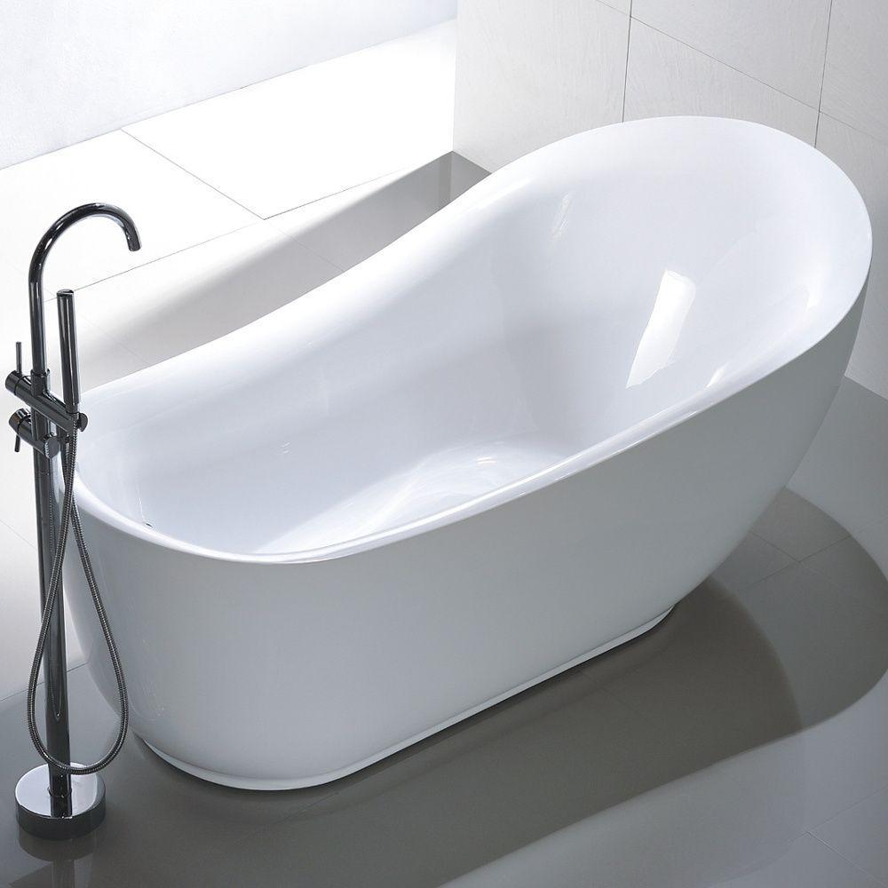 Vanity Art Freestanding 71 Inch Slipper Style White