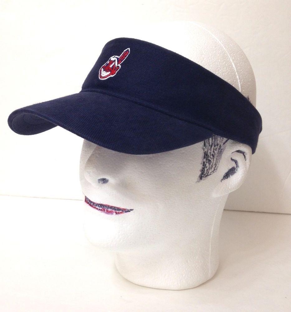 Vtg CLEVELAND INDIANS VISOR Navy Blue Chief Wahoo Sun Beach Golf Hat  Men Women  DrewPearson  ClevelandIndians acecc542464