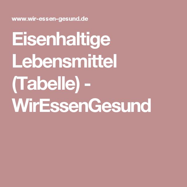 Eisenhaltige Lebensmittel - Tabelle | Lebensmittel tabelle, Tabelle ...