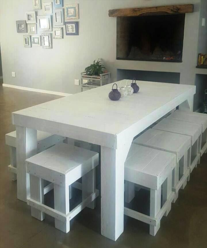 Chic White Pallet Dining Furniture Set