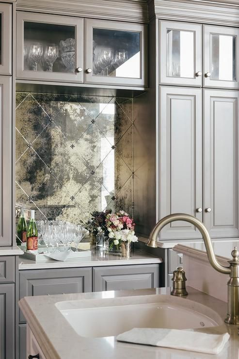 Diamond Pattern Antiqued Mirrored Backsplash Tiles Kitchen