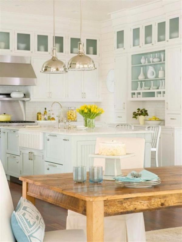 Muebles blancos combinados en celeste/verde/gris. mesa comedor ...