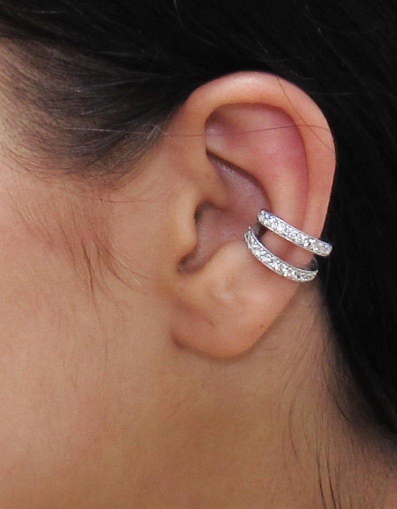 Double Cuff , CZ Pave Ear Cuff, Ear Wrap Earrings, Boho