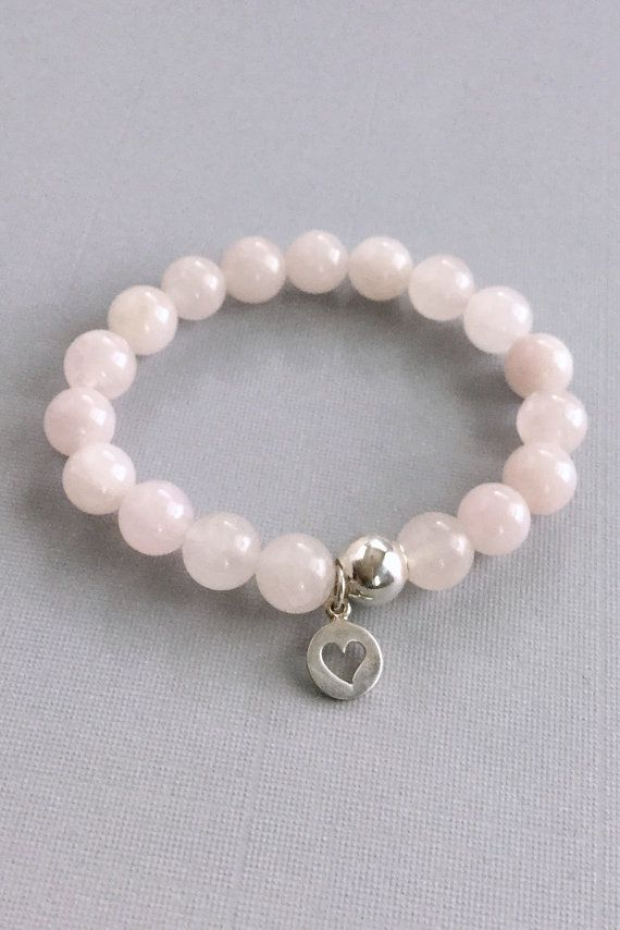 Rose Quartz Bracelet Sterling Silver Heart Charm Pink Jewelry Stretch Bead Round Stone