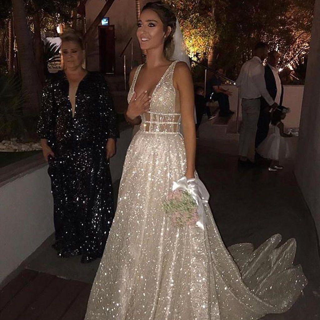 Deep vneck prom dresses sparkle backless vintage prom dresses