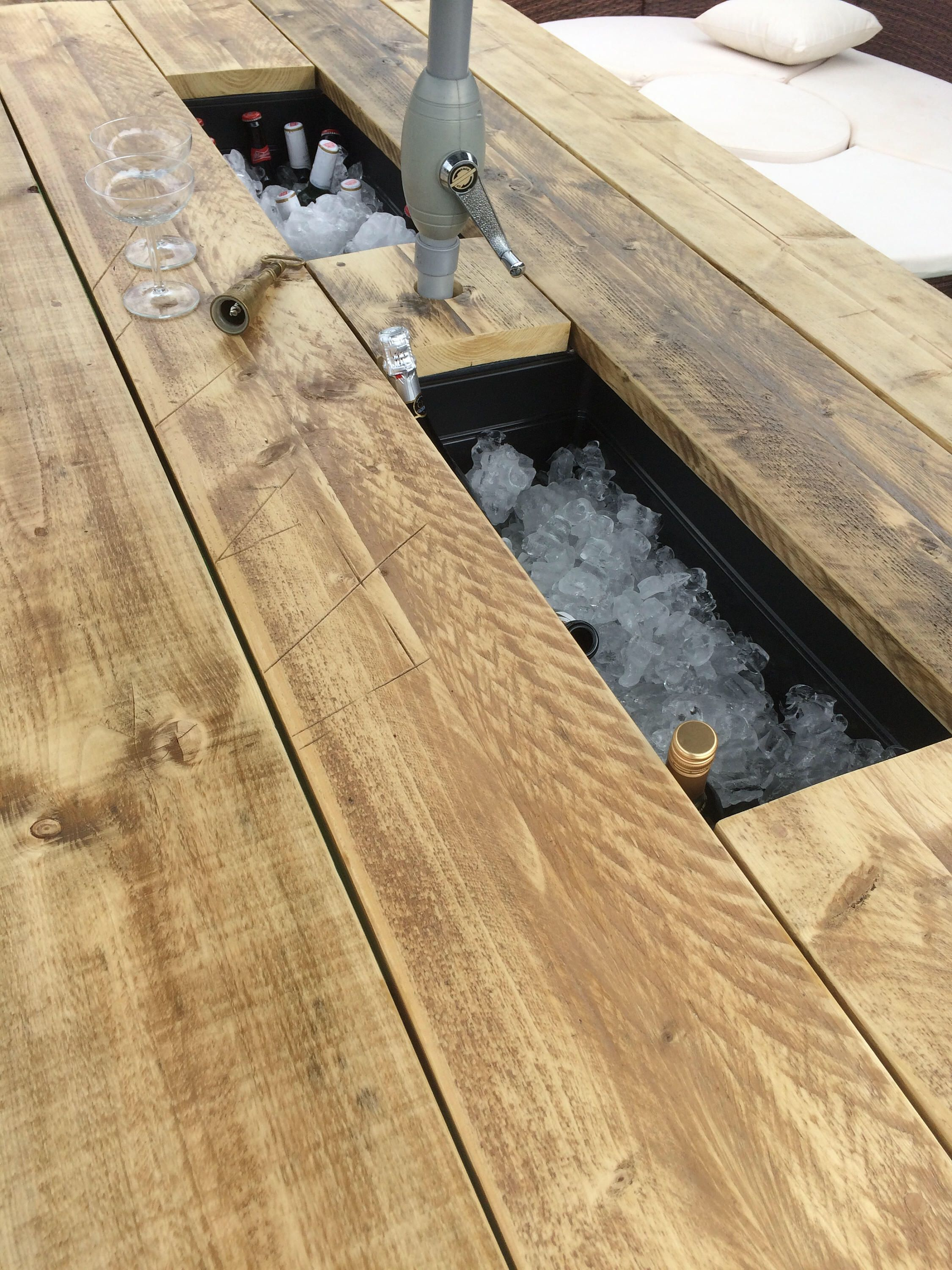 Ice Bucket BBQ Patio Table 10 Benches Rustic & Handmade with  Etsy