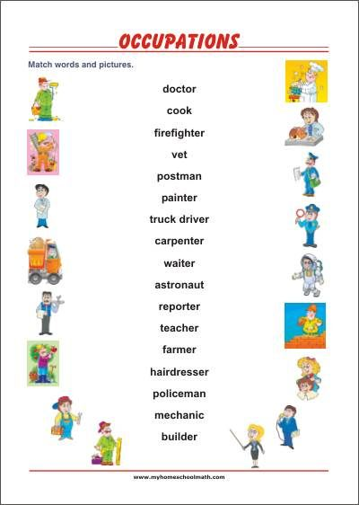 Learning Occupations Jobs Professions  Free Printable Worksheet
