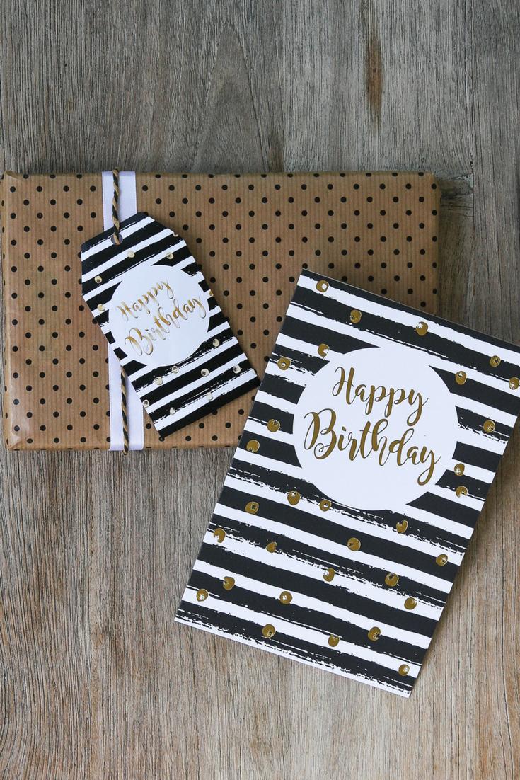 Tolle Geburtstagskarte In Schwarz Und Weiß Mit Goldener