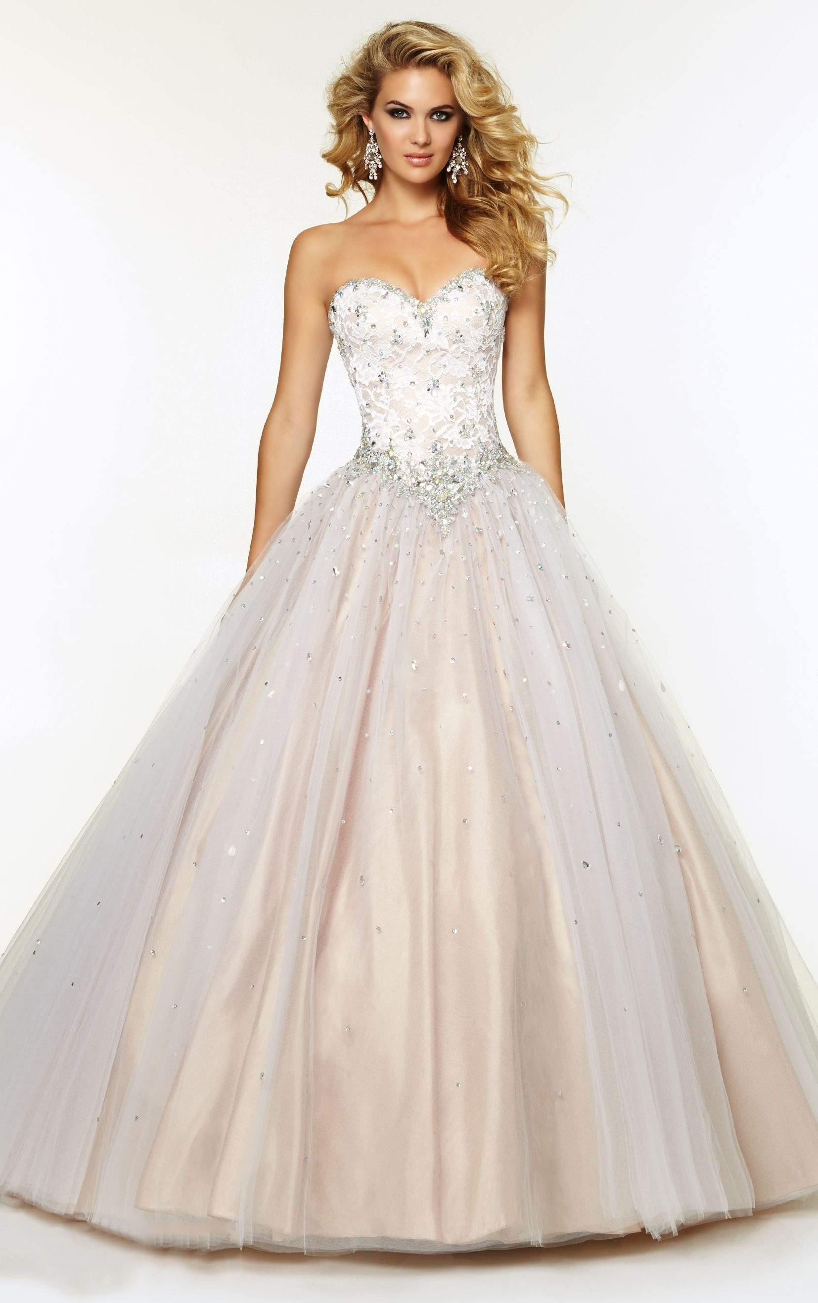 Natural Sweetheart Ball Gown Floor-length Tulle Long Prom Dresses ...