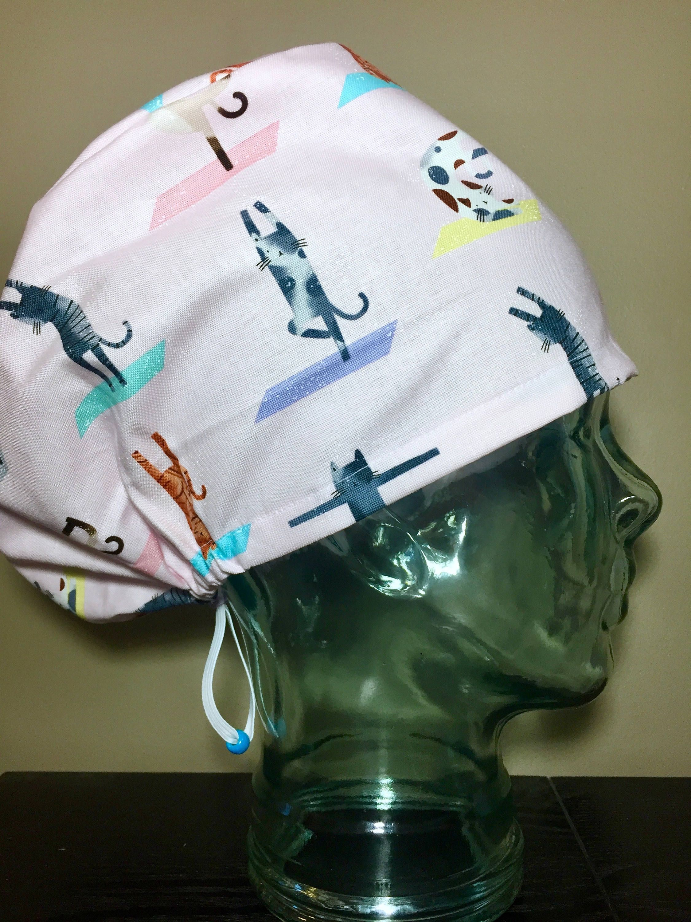 0d6018eeadc63 Cat Yoga on Pink Surgical Scrub Hats