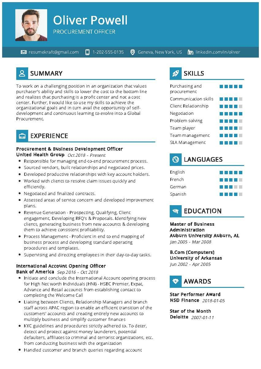 Procurement Officer Sample Resume in 2020 Resume