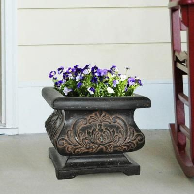 Cast Stone Bombee Planter In Aged Charcoal Finish PF5795AC   The