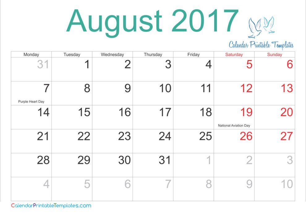 Pin By Calendar Printable On August 2017 Calendar August