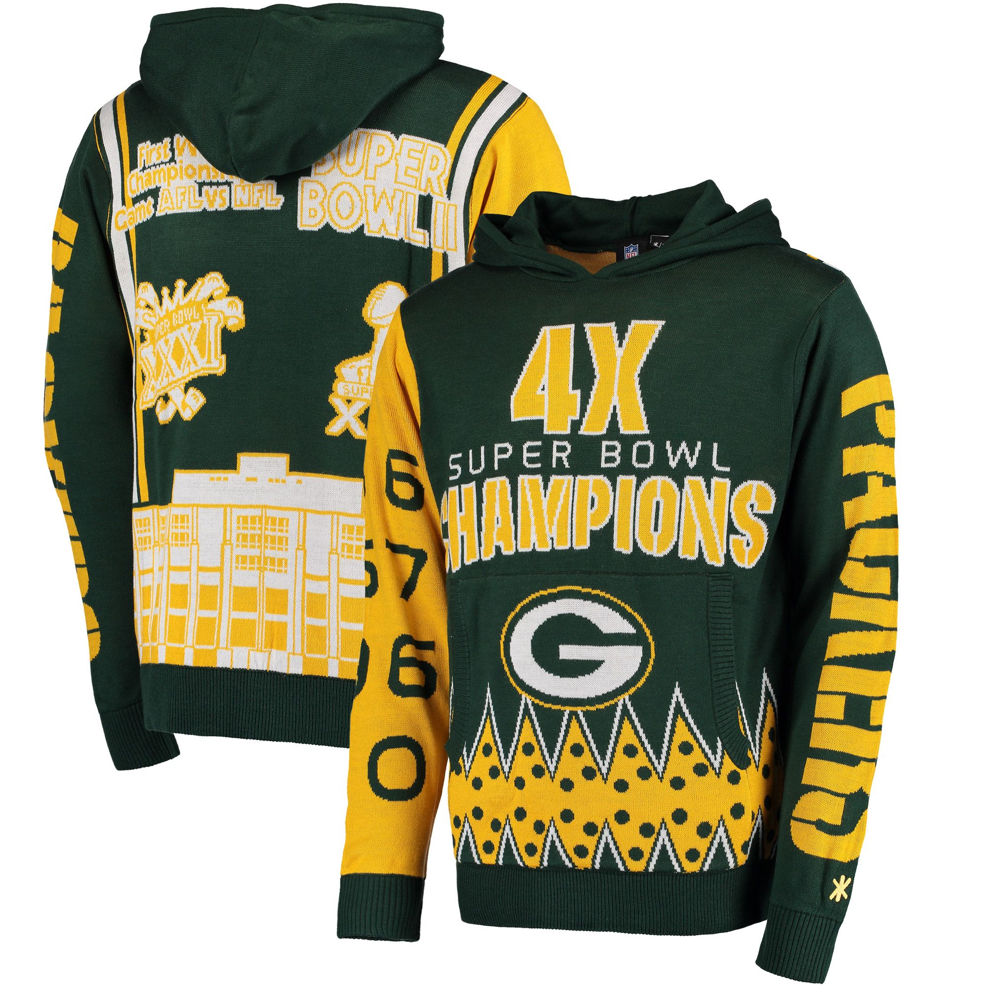 b2a5cf2784f NFL Green Bay Packers Klew Four-Time Super Bowl Champions Commemorative  Pullover Hoodie - Green
