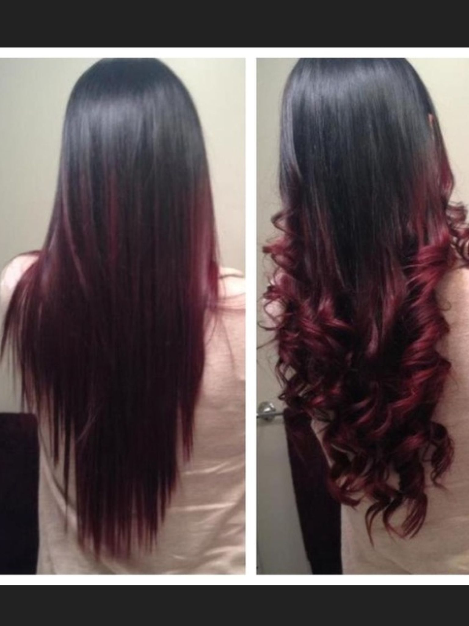 Ombre Black To Burgundy With Images Red Ombre Hair Black