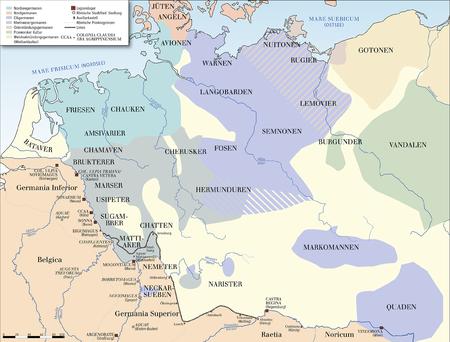 germanische stämme karte Karte der Germanischen Stämme um 100 n. Chr. (ohne Skandinavien