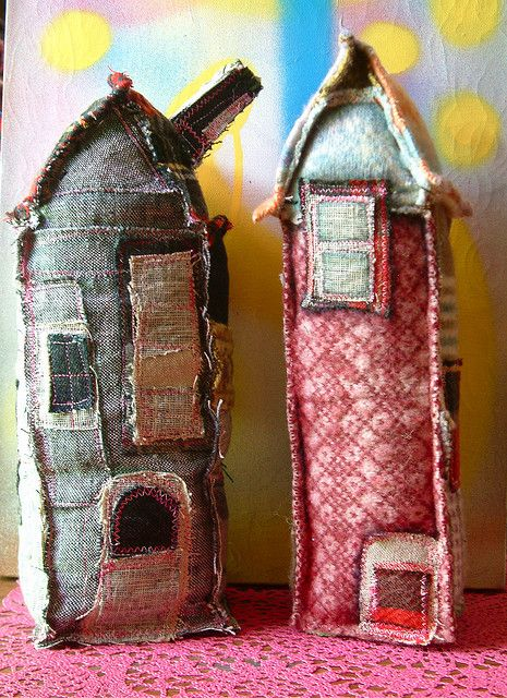 Towers In The Village Fabric Houses Fabric Crafts Sewing Crafts