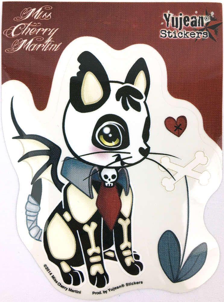 NEW Miss Cherry Martini Pink Tattoo Kitty Cat Retro Tattoo Vinyl Sticker Decal