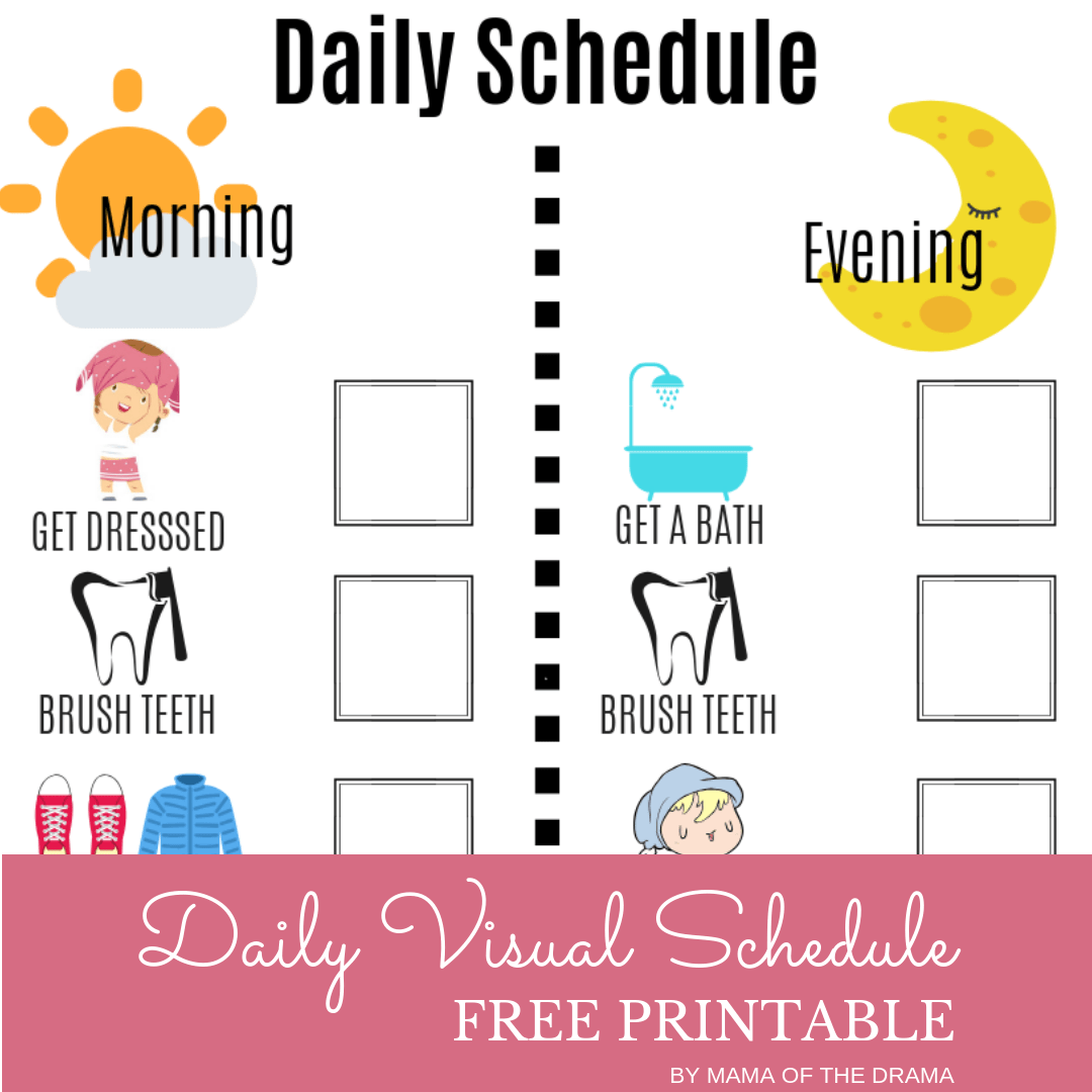 Visual Daily Schedule Free Printable In