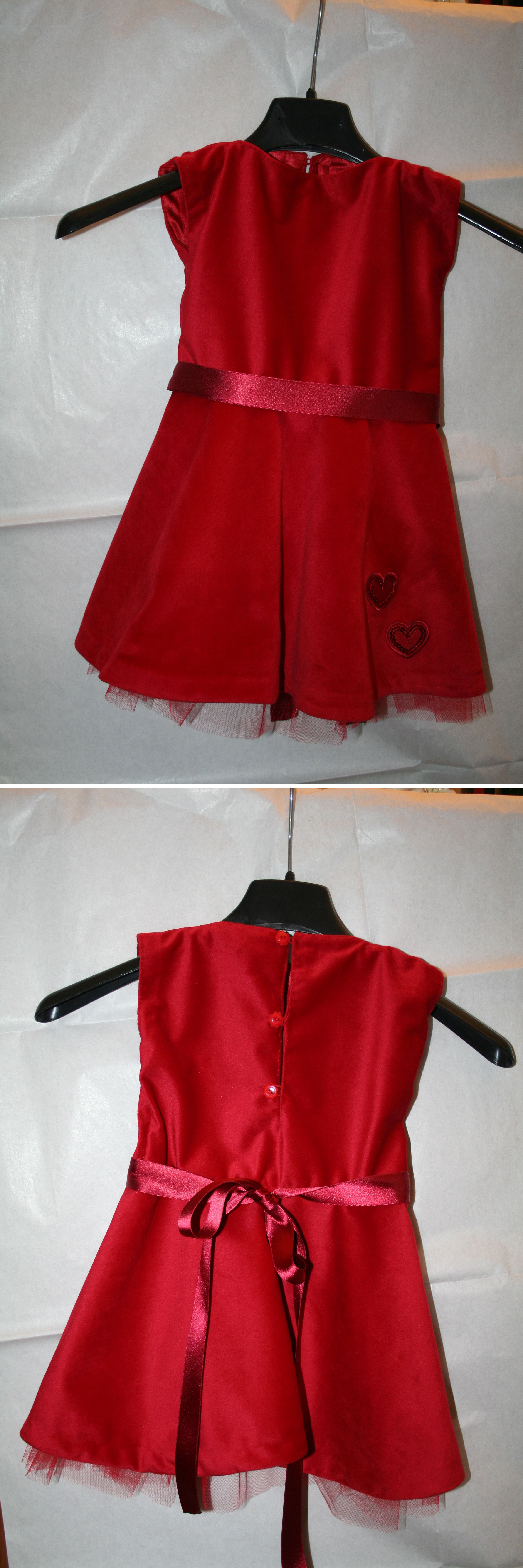Red dress in velvet for kid, completely handmade