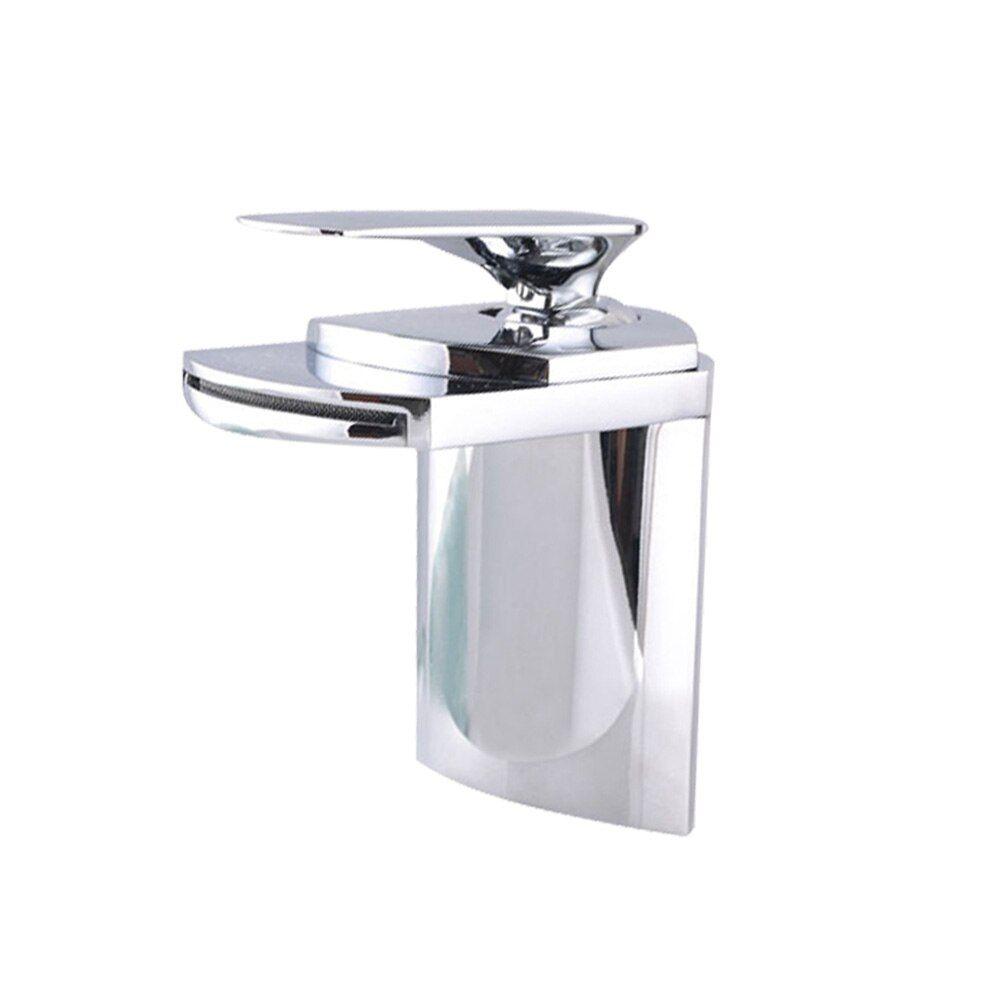 1pc Chrome Waterfall Faucet Basin Vanity Sink Mixer Taps Faucet