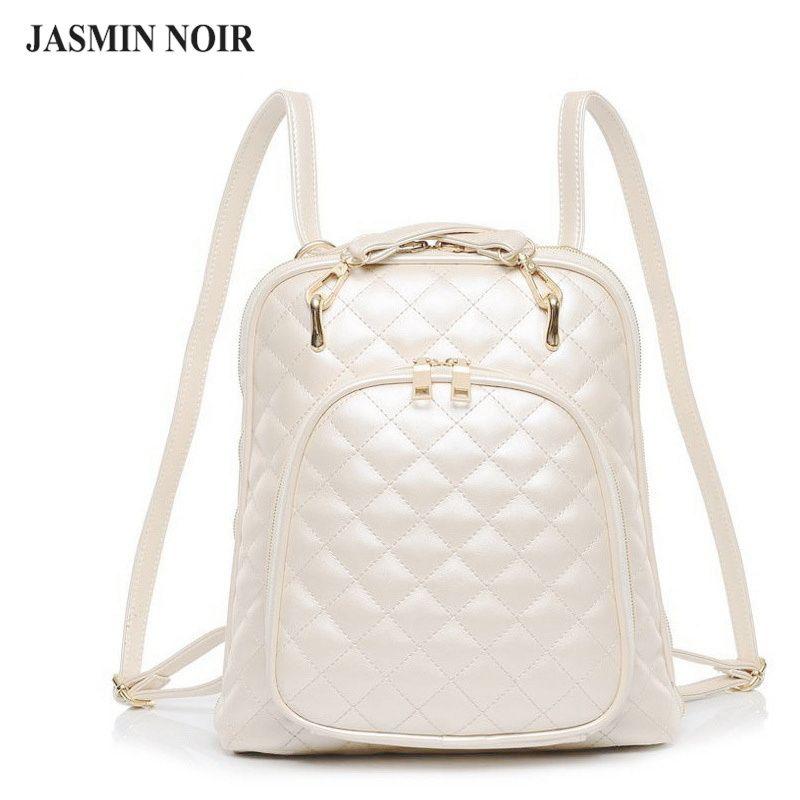 fashion women 39 s shoulder bag quilted beige leather back pack college brand laptop backpack. Black Bedroom Furniture Sets. Home Design Ideas