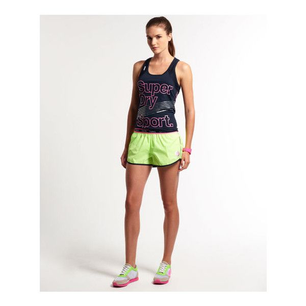 Superdry Gym Running Shorts (£20) ❤ liked on Polyvore featuring activewear, activewear shorts, yellow and superdry