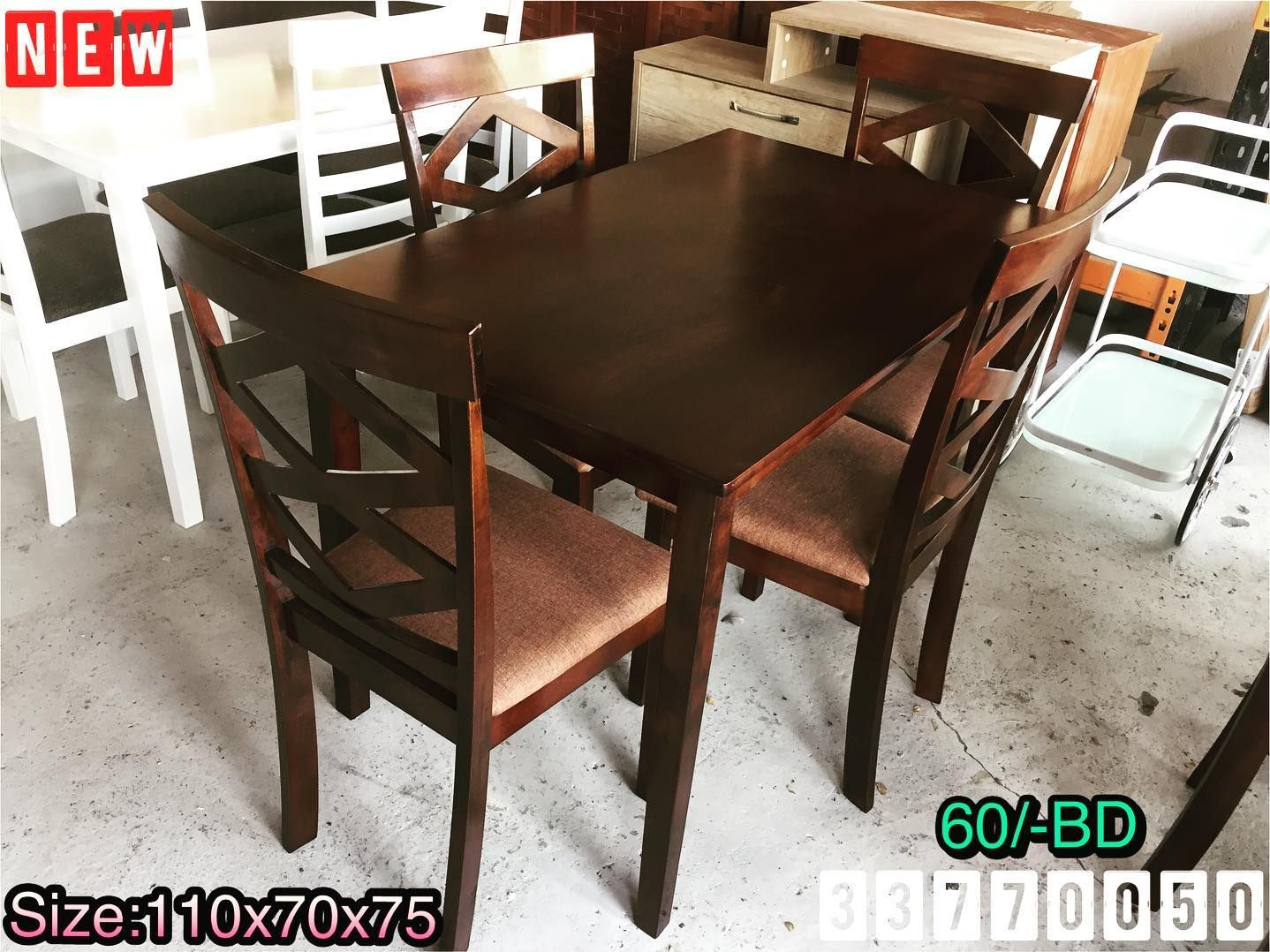 Dining Table Size 70x110x75 Wood Brown Color New Made In Malaysia Price 60 Bd طاولة طعام ل 4 أشخاص خشب لون بني Dining Table Home Decor Furniture