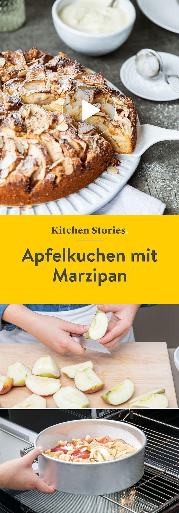 Apfelkuchen mit Marzipan | Rezept mit Video | Kitchen Stories
