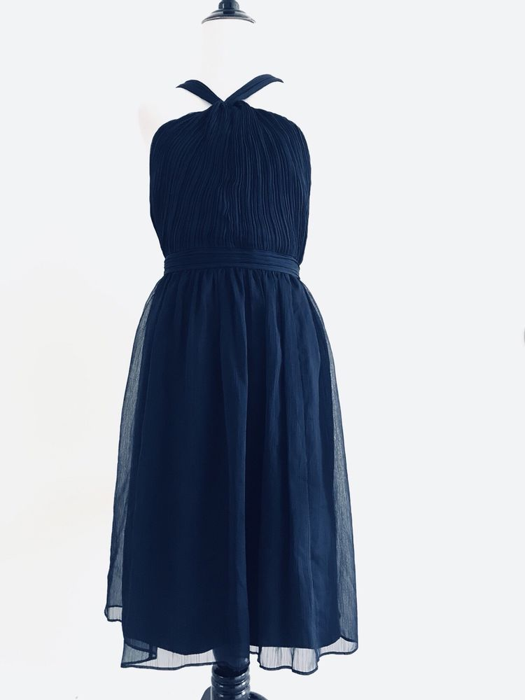103a089fc2d J Crew Womens Aubrey Pleated Halter Dress Size 10 Dark Blue Sleeveless  Empire N6  JCrew  jcrewalways