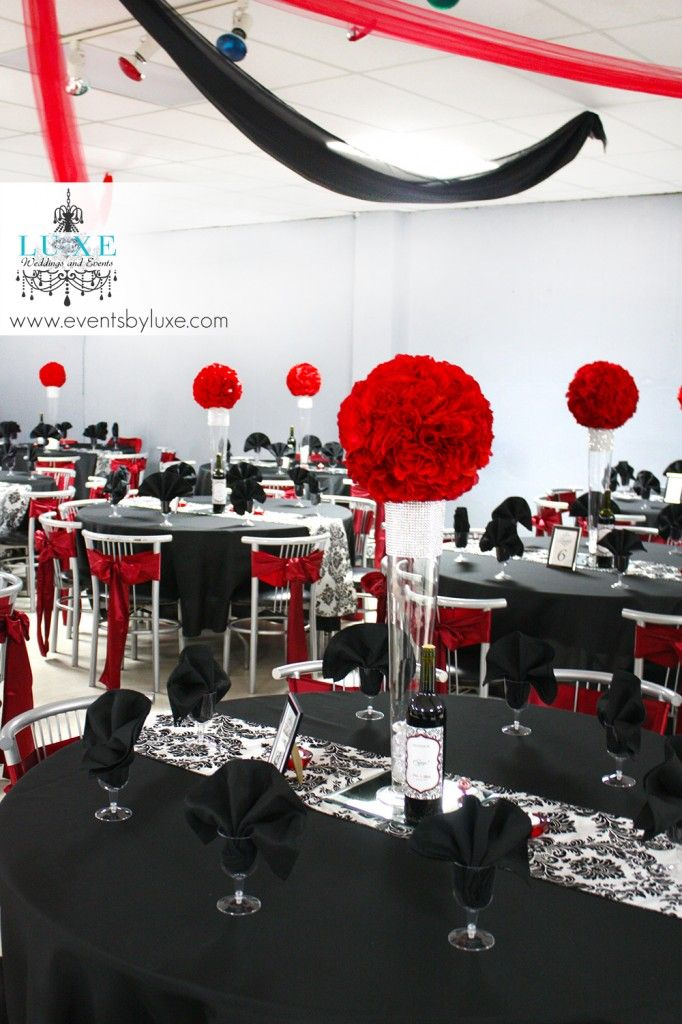 Red Black White And Damask Wedding Decor In London Ontario Red