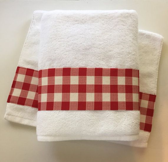 Buffalo Check Gingham Picnic CheckRed Towel Hand By AugustAve