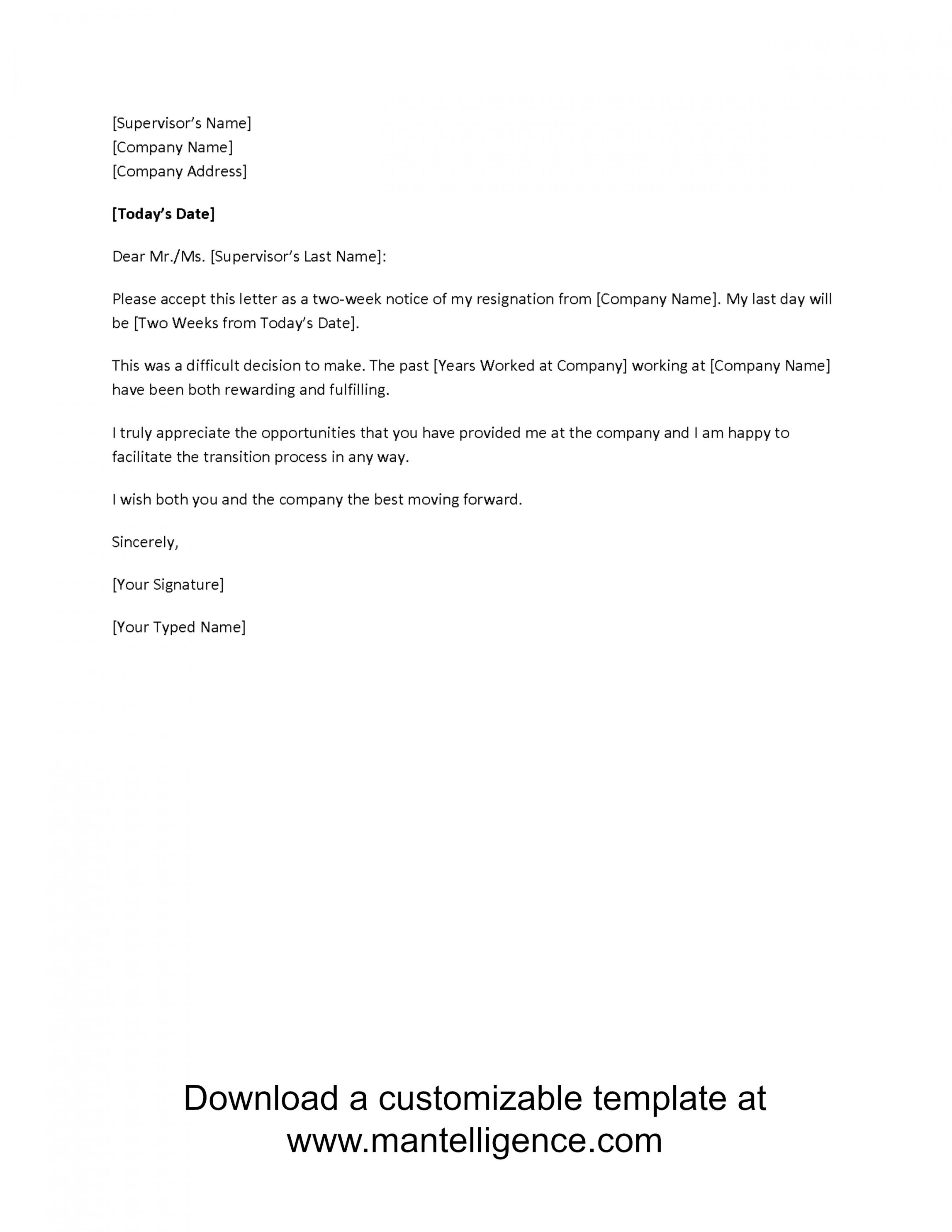 Get Our Printable Template Resignation Letter 2 Week