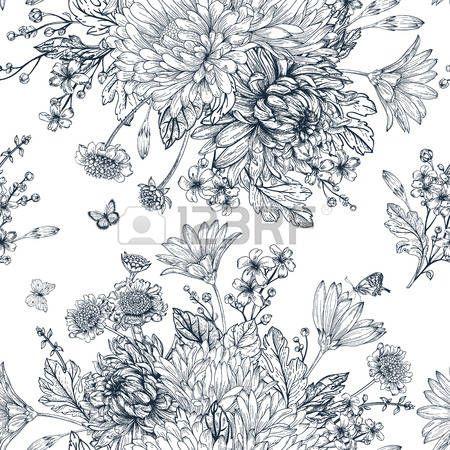 dessin noir et blanc: seamless élégant avec des bouquets de fleurs