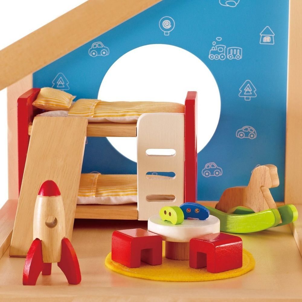Dollhouse Doll House Wooden Furniture DIY Miniature Kit Children Room Set  Kids #Hape