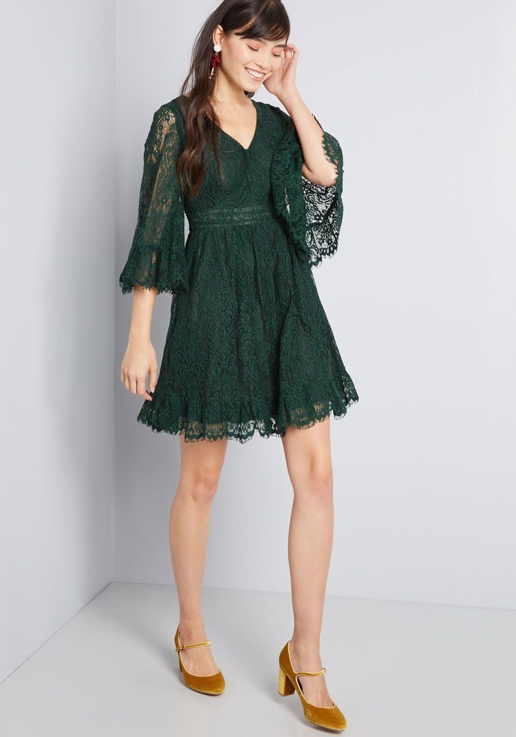 5a04149f575 ModCloth Through the Bluebells Lace Dress Forest Green