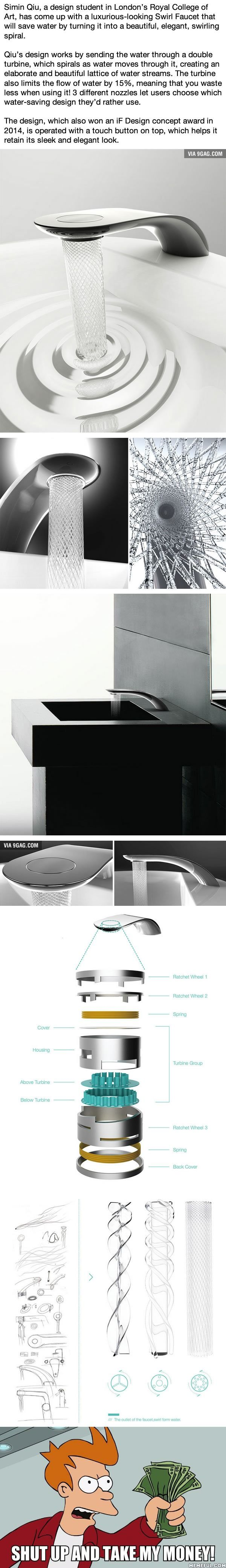 Student\'s Faucet Design Saves Water By Swirling It Into Beautiful ...