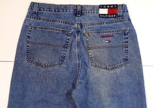 414ed0c89f5a8f Tommy Hilfiger Men 36 x 32 Freedom Jeans Colorblock Flag Spell Out Retro US  M29