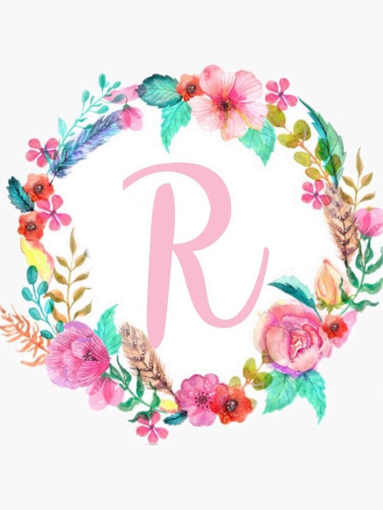 R Monogram Sticker By Evahayman In 2021 Monogram Wallpaper Monogram Stickers Free Printable Art
