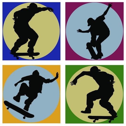 Interior Place Skateboard Shadow Wall Decals Appliques