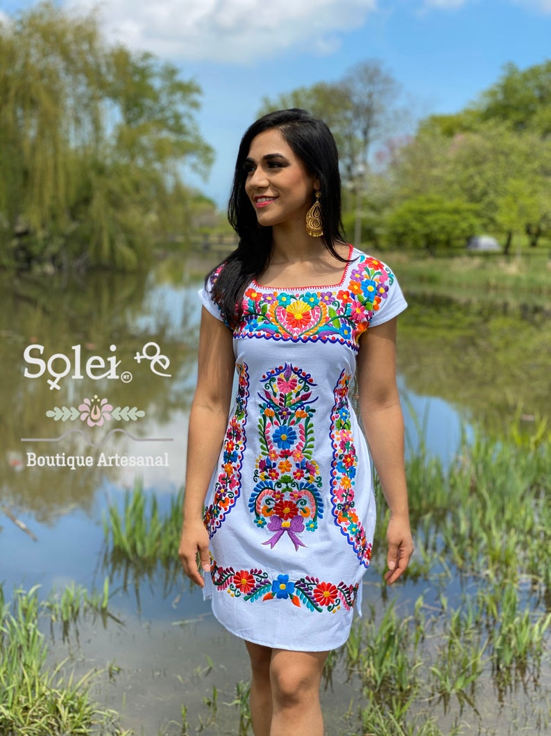 short mexican dress boho dress corolfull embroidery  dress mexican dress mexican embroidered dress fancy mexican dress