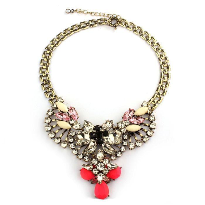Funky Jewelry Crystal Rhinestone Flower Statement Bib Chain ...