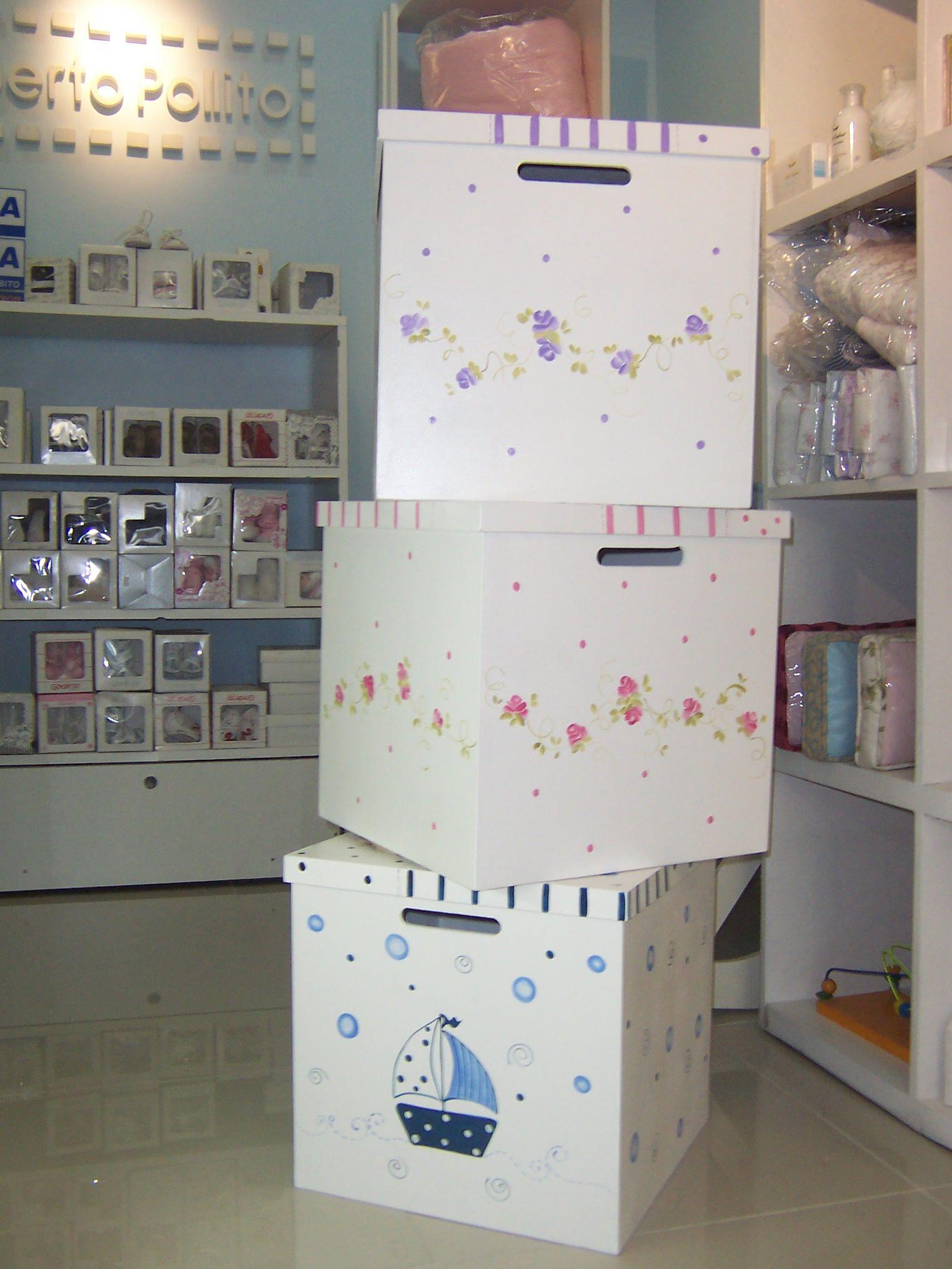 Cajas de madera para ajuares y jueguetes bebe cajas de - Cajas decoradas para bebes ...