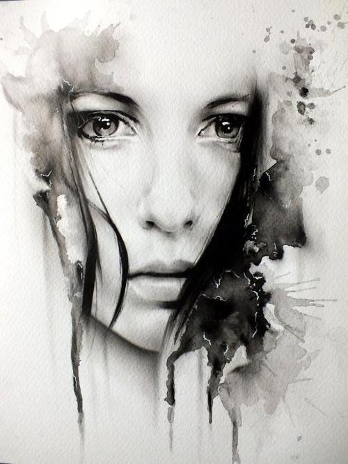 Peinture Un Portrait A L Aquarelle En Noir Et Blanc Oeuvre D