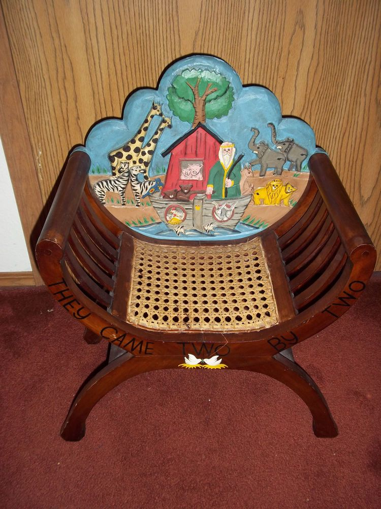 Noahu0027s Ark Vintage Wooden Chair Hand Painted Carved They Came Two By Two  #Handmade