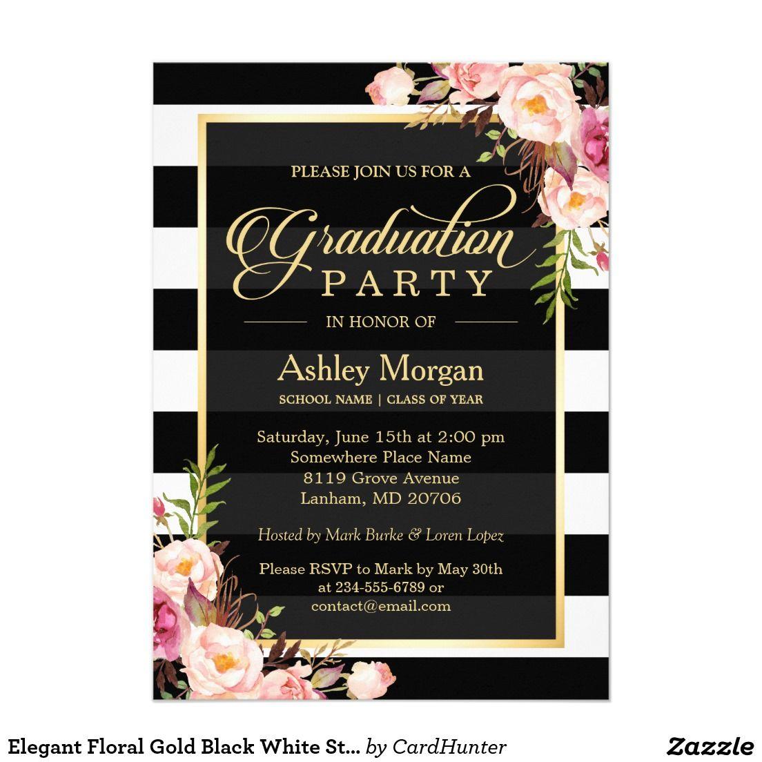 Elegant Floral Gold Black White Stripes\' Elegant Floral Wrapped ...